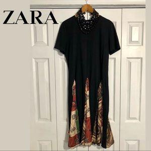 Zara Black & Silk Equestrian Chic Midi Dress - XL